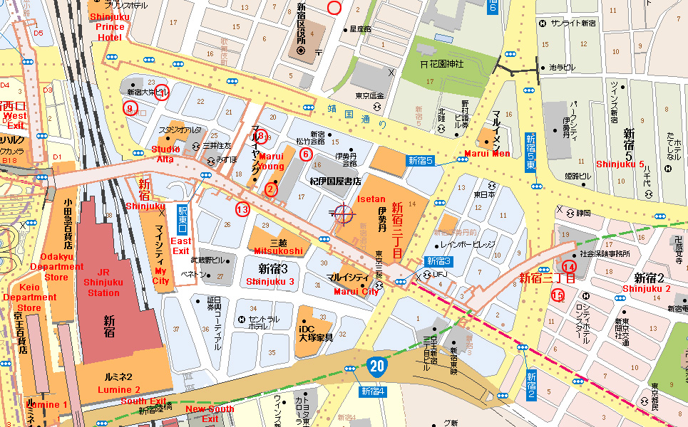 CuSO4s Tokyo AnimeManga Shopping Guide Shinjuku East Map